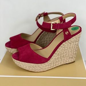 Michael Kors Carlyn Wedge Leather Berry
